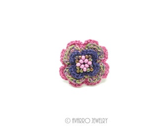 Statement Ring, Purple Rose Ring, Crocheted Beaded Ring, Floral Ring, Flower Ring, Floral Jewelry, Flower Jewelry, Statement Jewelry