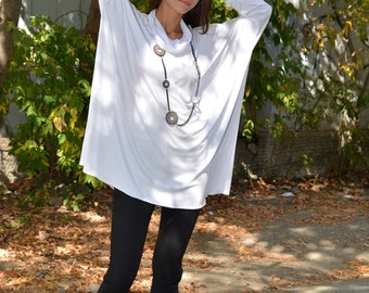 Plus Size Tunic, White Tunic, Plus Size Top, Casual Top, Loose Tunic, Long Sleeved Top, Oversized Tunic, Party Tunic Top, Danelly  D16.08.15