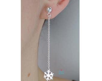 Silver Snowflake Pendants Stud Earrings | Silver Snowflake Earrings | Silver Snowflake Stud | Tiny Silver Snowflake Stud | Snowflake earrings |