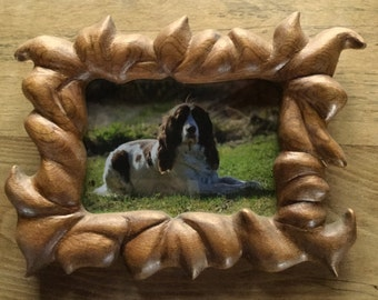 hand carved natural grain wood picture frame #11