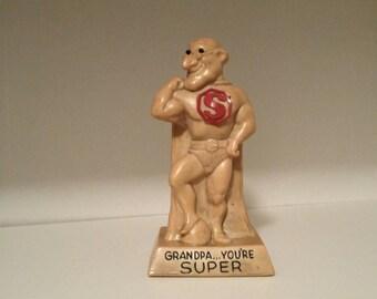 1971 Scillisculpt Grandpa You're SUPER Russ & Wallace Berrie Scarce Figurine Grandfather Superman Statue Home Decor Love Grandfather Figure