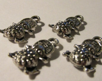 Tibetan Silver Good Fortune Mini Charms of Lucky Frog with Coins in Mouth, 15mm, Set of 4