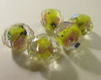 Faceted Yellow Lampwork Glass Beads with Pink Mini Rose Centers, 12mm, Set of 5