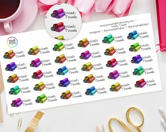Wash Towels Planner Stickers, For Erin Condren, Happy Planner, Kate Spade, Plum Paper, Filofax, TN and more! |Washing|Bathroom stickers