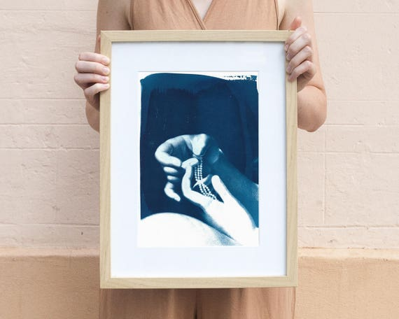 Engagement Art Print Cyanotype, Hands Holding Ring and Neclace, A4 size (Limited Edition)