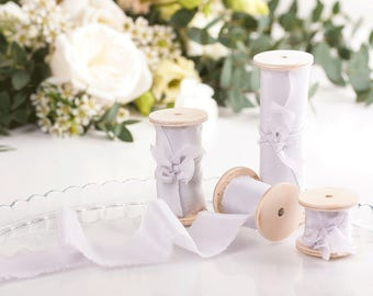 Lavender Silk Ribbon on Wooden Spool - Plant Dyed / 1, 1.5, 2.5 and 4 inches width available / Perfect if used as wedding bouquet ribbon