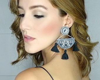 Boho Tassel Earrings, Geometric Earrings,Boho Jewelry,Wholesale Earrings,Threader earring, Boho Ethnic Earrings, Geometric Jewelry,Silver