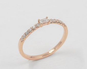 sale rose gold ring diamond engagement ring simple wedding ring fancy diamond - Simple Wedding Ring