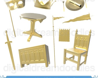 Gold Medieval Clipart, Crown Clipart, Plate Clipart, Banner Clipart, Plate Table Clipart, Chair Clipart, Old Chest Clipart, Instant Download