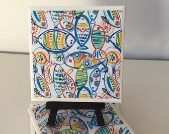 Fish Ceramic Tile Coasters, Fishing Coasters, Drink Coasters, hostess gift, barware, Home Decor, Gift for fisherman , Coastal decor