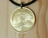 Lion Head Pendant Necklace, lion coin and antelope coin, African jewelry, african animal coin, Ethiopia 10 Cents Lions Head Coin charm