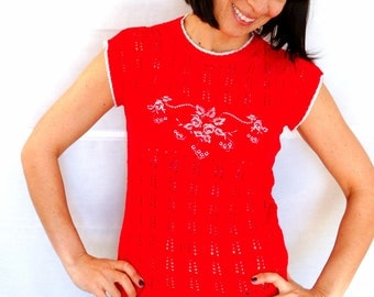 Womens Summer Knitted Top Crochet Top Red Fitted Summer Blouse Red Knitted Blouse Sleeveless Summer Crocheted Top Vintage 70s Size M US 10