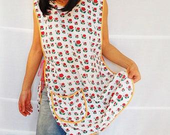 Full Apron Cotton Womens Apron with Pocket Apron Dress Retro Inspired Apron Back and Front Apron Retro Apron Vintage size M