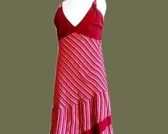 Asymmetrical dress cotton summer slip on dress empire neckline Plum colored cotton dress hippie striped dress vintage 1990s L US 14