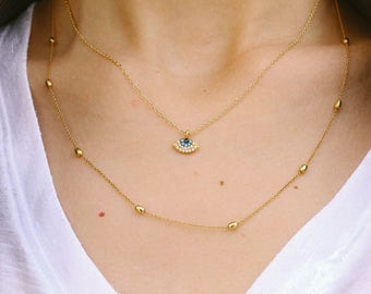 Tiny Evi Eye Necklace, Evil Eye Jewelry, Evil Eye Charm, Gold Cubic Zirconia Evil Eye Necklace, Women's Jewelry.