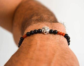 Lion Bracelet, Black Beaded Bracelet Men, Lionhead Bracelet, Lion Jewelry, Black Bracelet, Men's Jewelry, Made in Greece.
