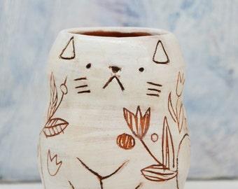 Cat Penholder/ Cat Cup/  Ceramic Pencil Holder/ Cat Makeup Brushes Holder
