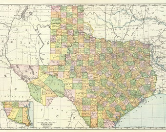 Old map of Texas printable digital download.Vintage Texas Oklahoma and Indian territory map- Instant Digital Download.PRINTABLE map.Us Map