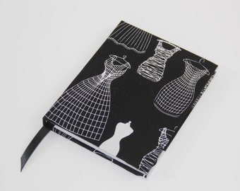 A6 Sketchbook Hand Covered with in a contemporary dressmaker seamstress fashion design fabric