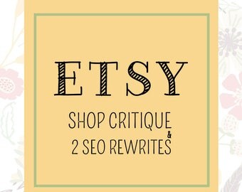Etsy SEO Help - Etsy Shop Critique - Etsy SEO - Etsy Titles - SEO Help - Etsy Tags - Etsy Seller - Sell on Etsy - Listing Critiques