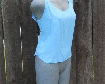 Vintage Tank Top, Blouse, Jams World, Blue, 90's, Embroidered Back, Summer Top, Made in the USA, Plus Size, Size XL