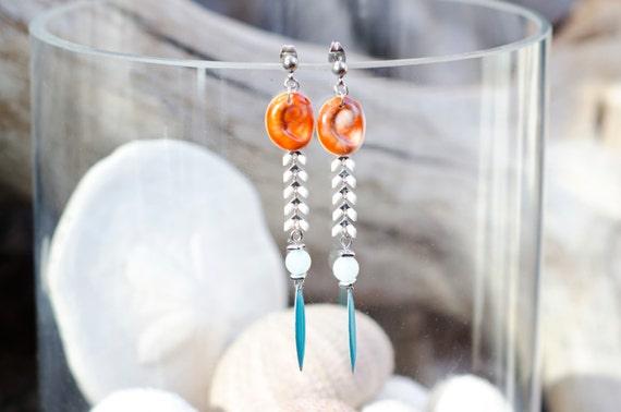 Dangle earrings TANIA - Blue & seal shell dangle earrings hook - Eye of Santa Lucia