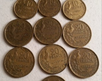 14 france vintage coins 1950 - 1957  -  coin lot  francs - world foreign collector money numismatic a50