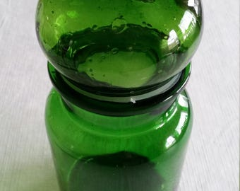 vintage blown glass lidded cannister bottle / jar in green forest / emerald color - bulbous apothecary bubble - made in taiwan - kitchen