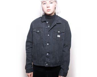 Vintage 90s Calvin Klein Black Denim Jacket ID:1311