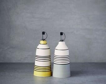 Olive oil dispenser, oil cruet,handmade oil bottle, striped patterns, ceramic, porcelain stoneware