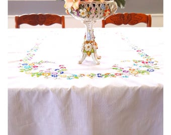 Hand Embroidered Tablecloth, Floral, Cotton Linen, With Brightly Colored Daisies And Three Matching Napkins