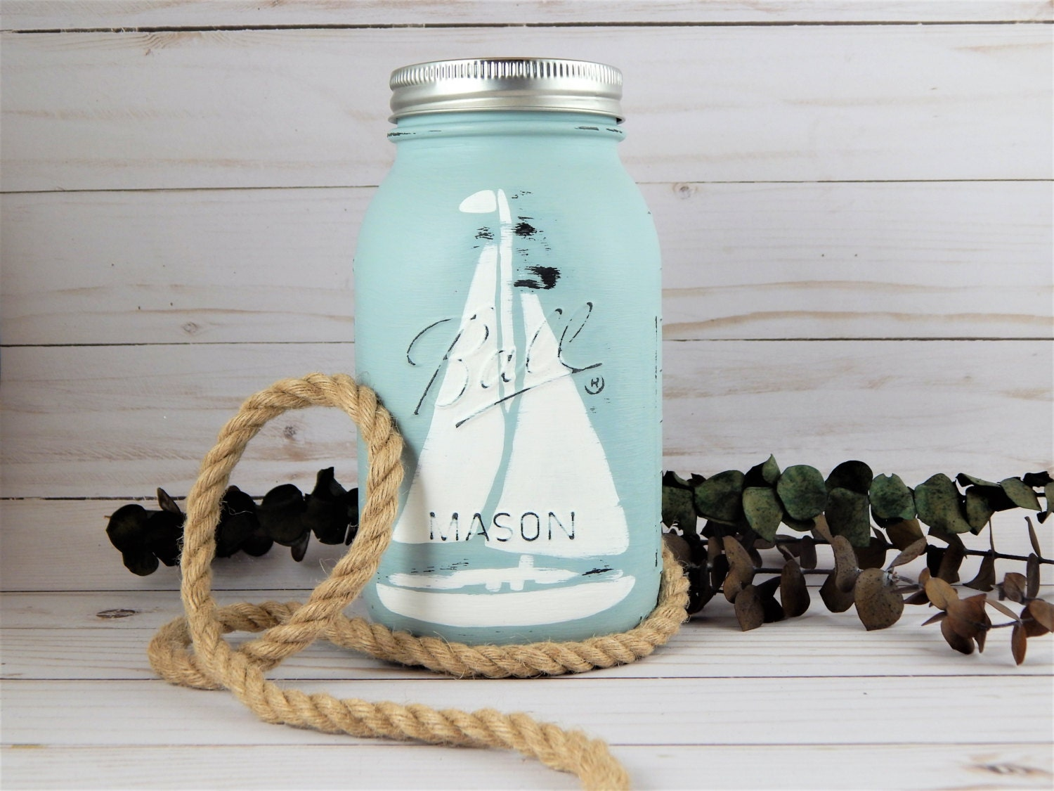 Nautical boat mason jar piggy bank personalized coin jar - Nautical piggy banks ...