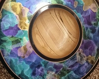 Spalted Birch Platter/Bowl with beautiful iridescent colors. FREE shipping to U.S.