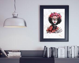 Dia de los Muertos Red Watercolour Flower Skull Wall Art Print