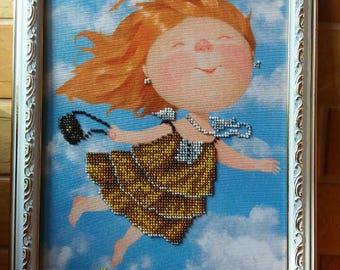 Home Wall Decor, Beadwork Happy Girl