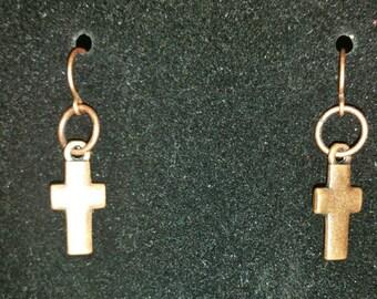 0141-Copper Cross Earrings
