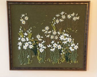 Vintage Framed Daisy Garden Crewel Artwork