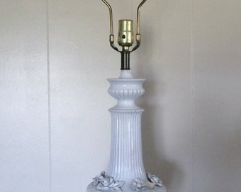 Vintage Porcelain Lamp,Electric Tall table lamp, with applied Flowers.Lighting, Home and Living,Home Decor, Table Lamp.