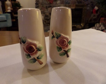 Cream Colored Ceramic Salt and Pepper Shakers with Raised Rose Design and Prayer