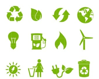 ECO Life Icon Set. Recycle Clipart Silhouettes for commercial or personal use. Functional Icon Set
