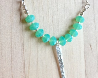 Czech glass necklace, sterling silver, hammered silver, seafoam green, glass beads, silver bar, silver pendant, beaded necklace, czech beads