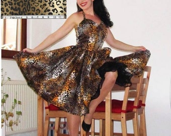 Pinup dress 'Jungle Jane, rockabilly dress, leopard, animal print 50s dress
