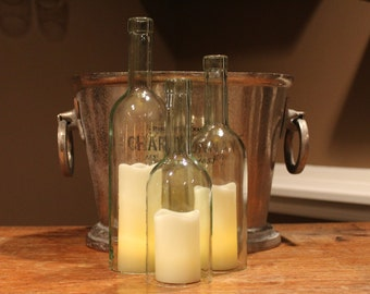 Wine Bottle Candle Holder/Shades (Set of 3) - 750ml Recycled Bordeaux Bottles - CLEAR