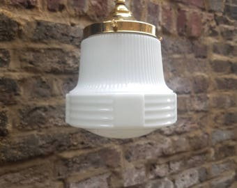 Art deco opaline glass pendant light: rewired