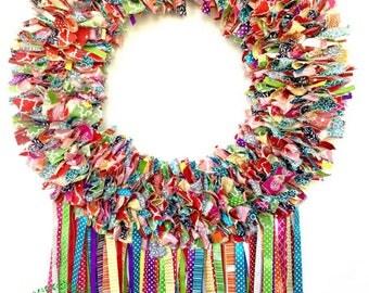 Rag Wreath, Fiesta Wreath, Birthday Wreath, Cinco de Mayo, Fabric Wreath, Handmade Wreath, Summer Wreath, Decorative Wreath, Door Wreath