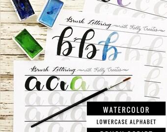 Watercolor Brush Lettering Alphabet & Drills Worksheets