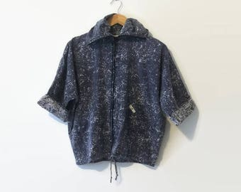 1990s Acid Wash Cotton High Collar Zip-Up Jacket S-L
