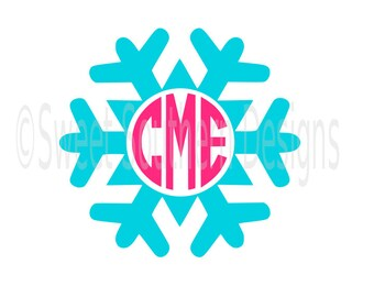 Snowflake monogram winter Christmas SVG instant download design for cricut or silhouette