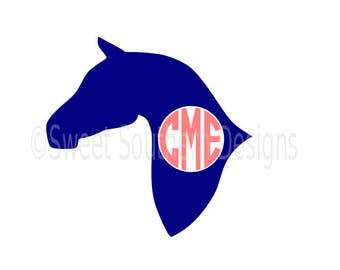 Horse monogram kentucky derby SVG instant download design for cricut or silhouette