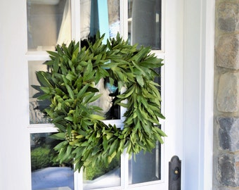 California Bay and Brunia Square Wreath | Summer Wreaths for Front Door | Front Door Wreath | Bay Leaf Wreath | Outdoor Wreaths for Summer